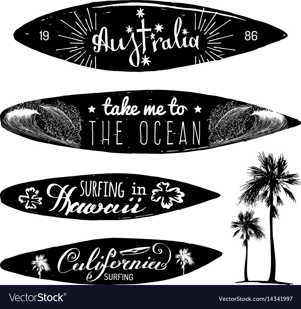 Set Of Vintage Surfing Logos And T Shirts Vector Image
