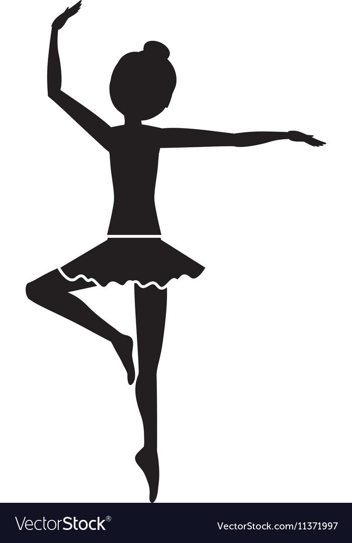 Silhouette with dancer pirouette third position vector image