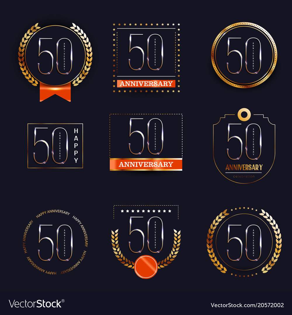 50 years anniversary logo set