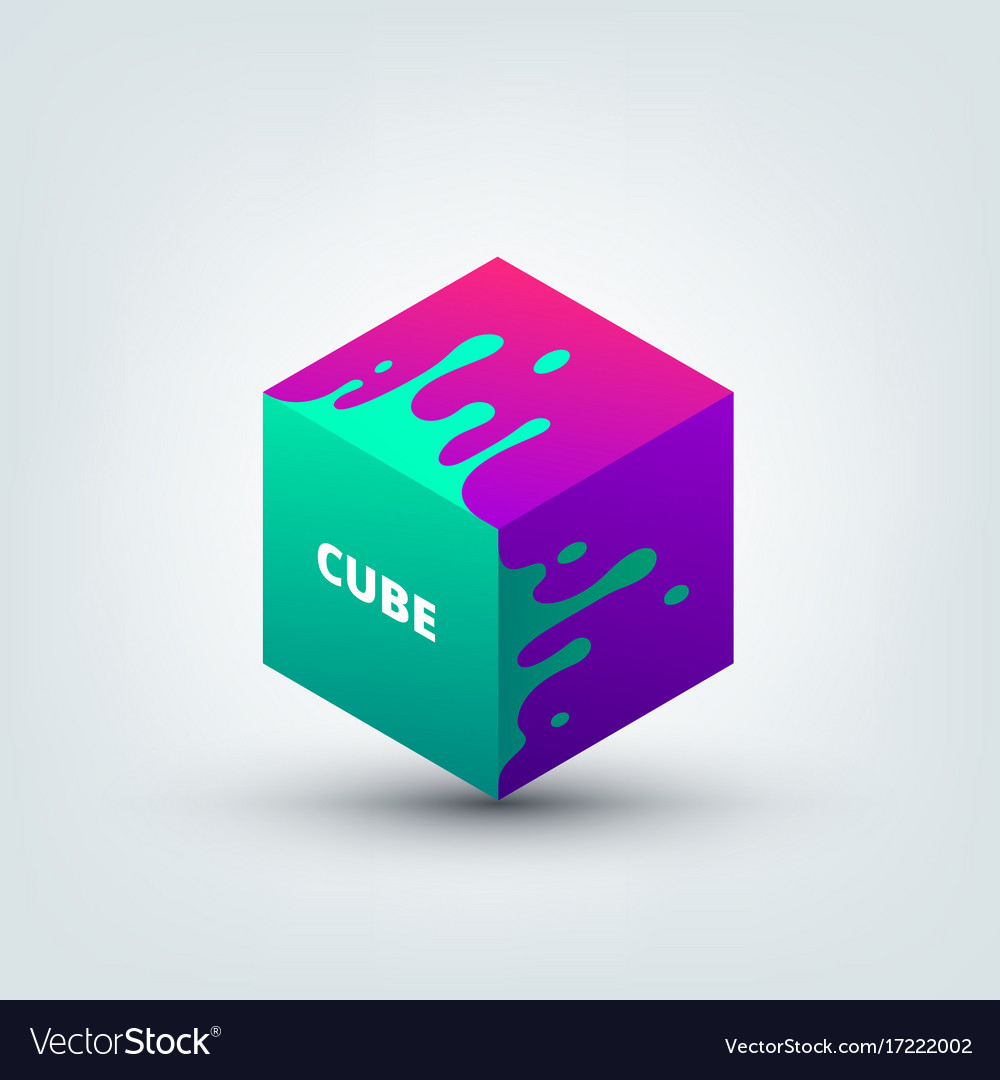 Abstract colored 3d cube