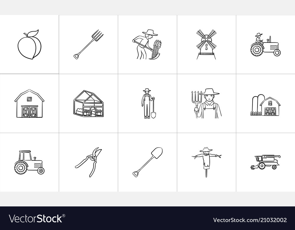 Agriculture hand drawn sketch icon set