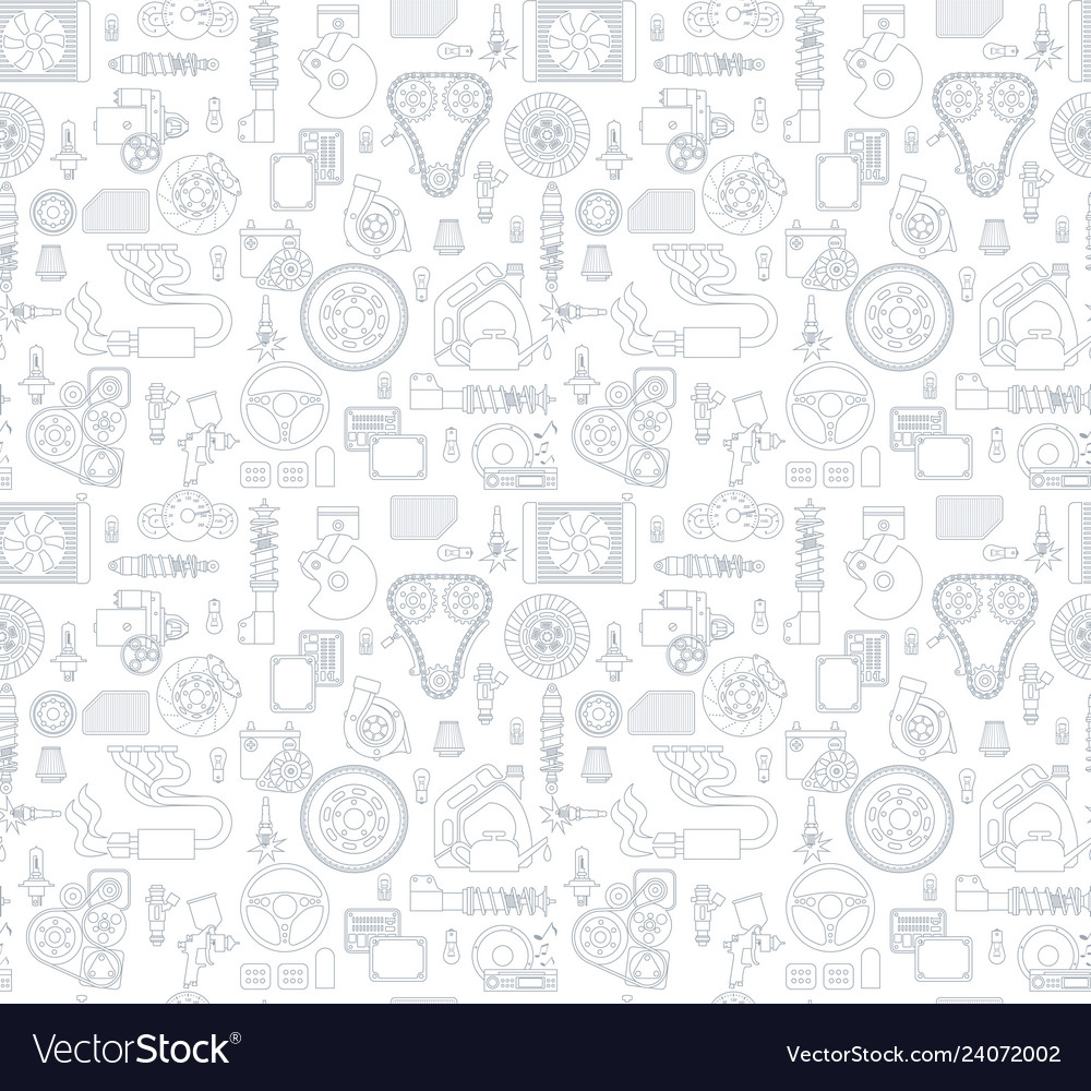 Background with gray linear icons of car parts