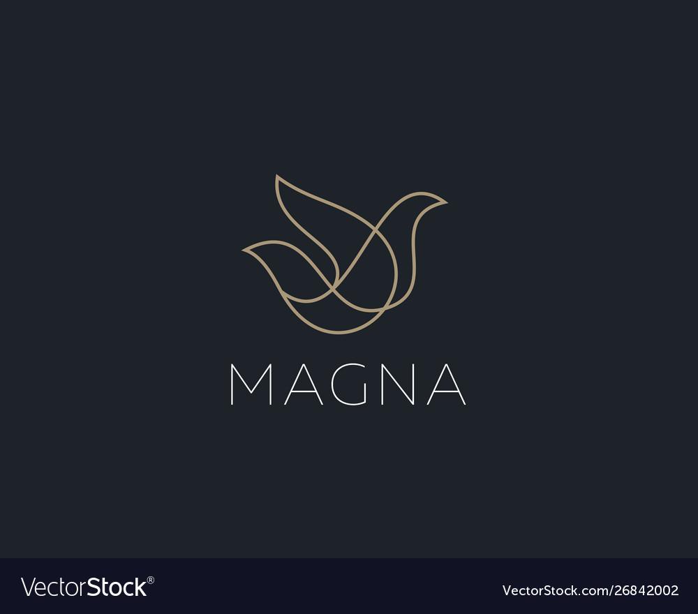 Bird logo design abstract modern linear style