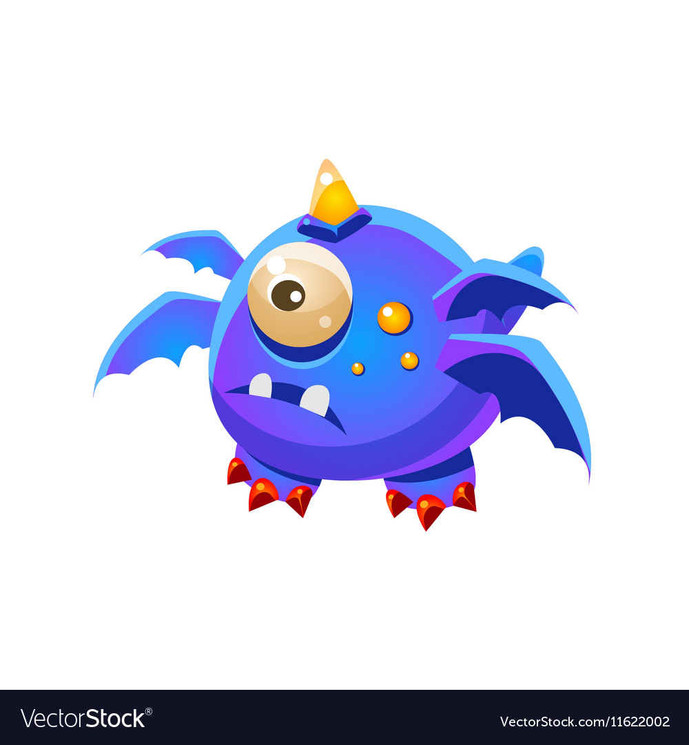 Blue Fantastic Friendly Pet Dragon With Four Wings