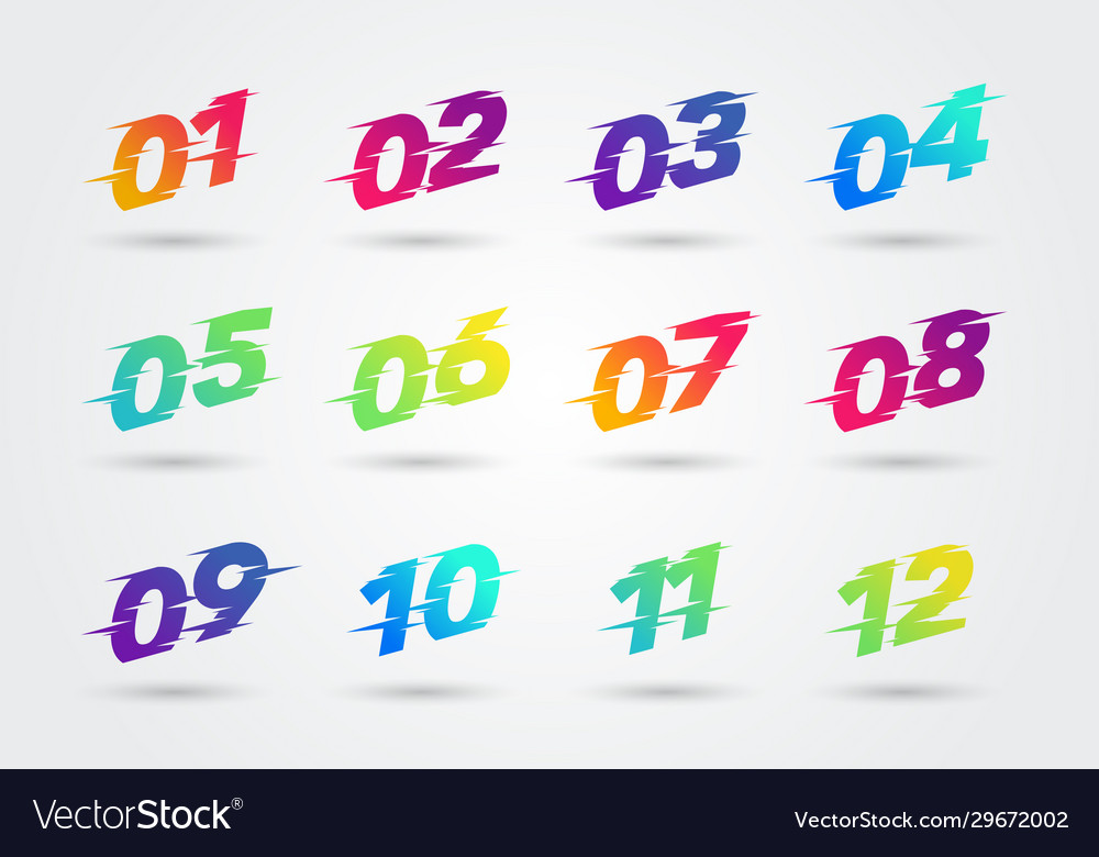Bullet points numbers with glitch effect