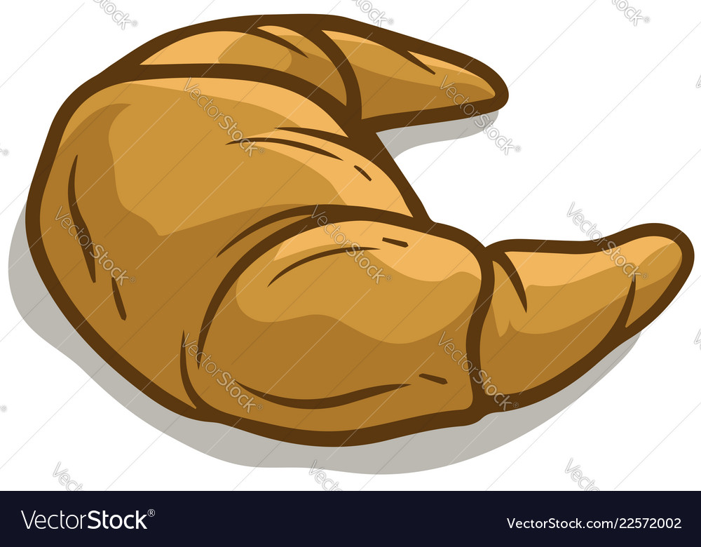 Cartoon tasty bagel or croissant icon