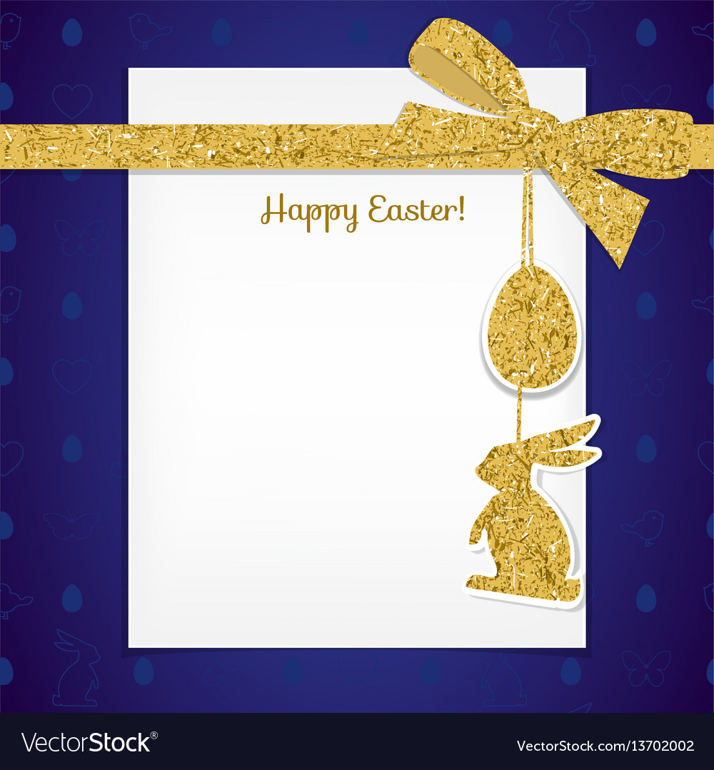 Easter background with gold ribbon and seamless vector image