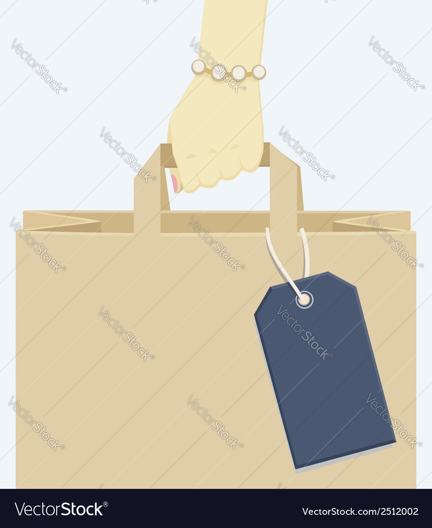 Female Hand Carrying A Shopping Paper Bag Vector Image