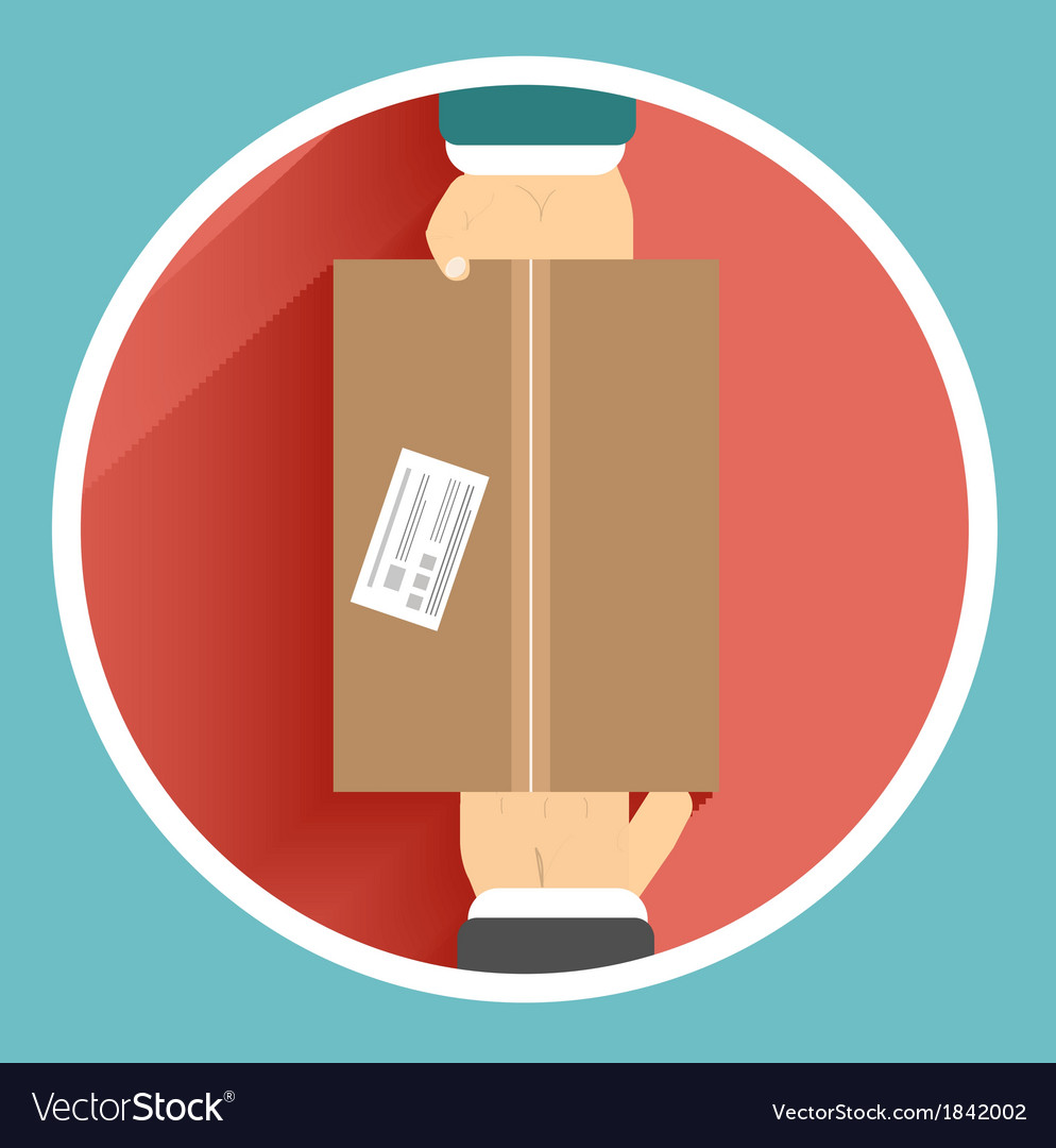 Flat delivery box and two hand