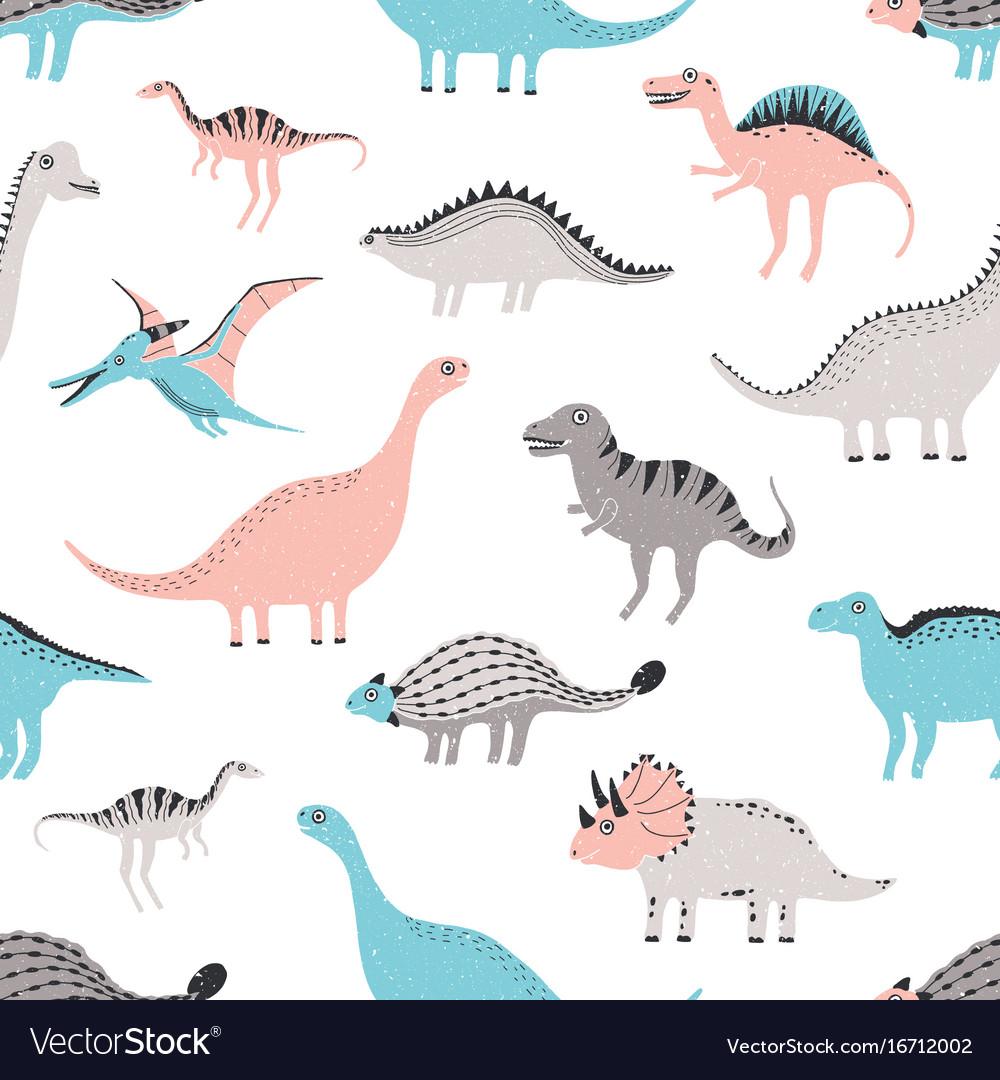 Funny dinosaurs seamless pattern cute childish