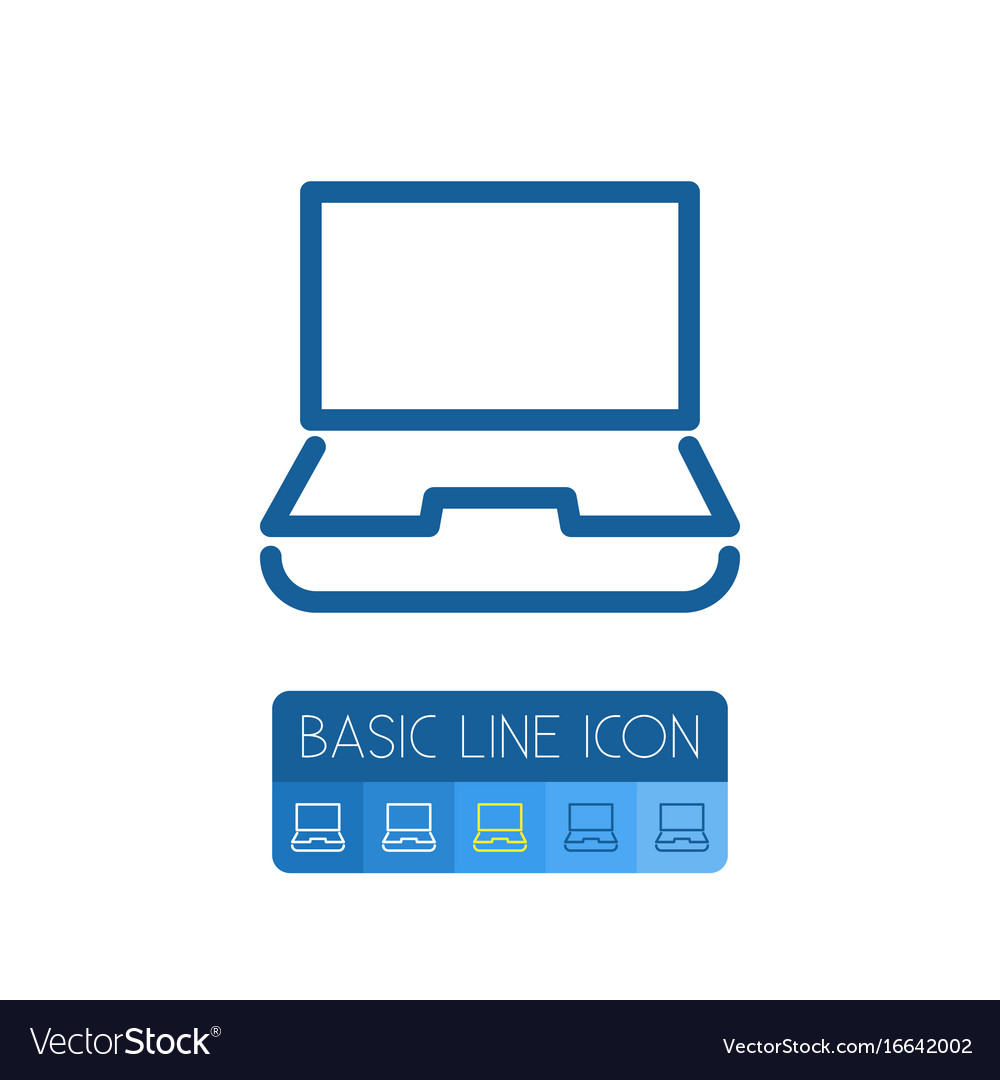 Isolated notebook outline desktop element vector image