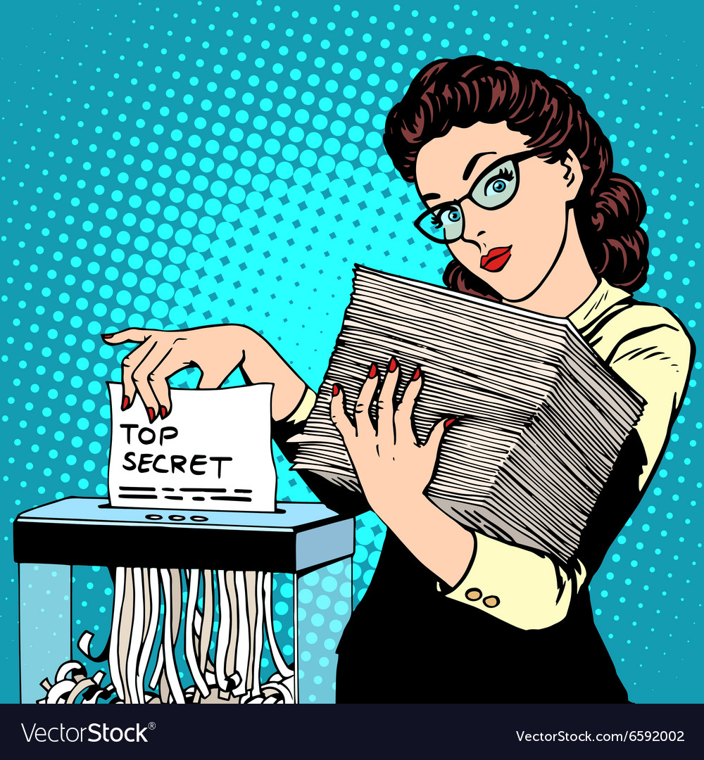 Paper shredder top secret document destroys the vector image
