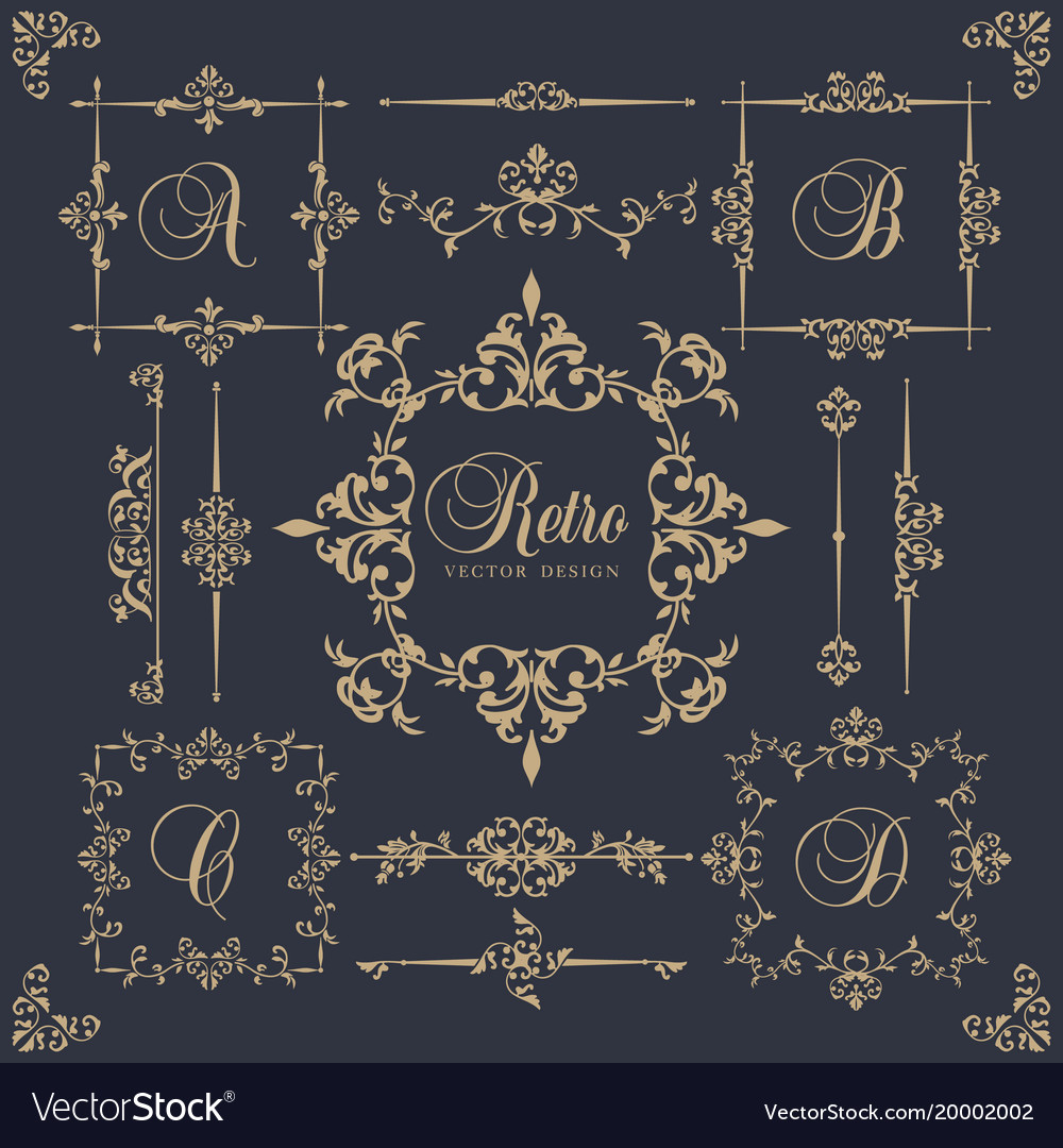 Retro frame in style of the baroque with leaves vector image