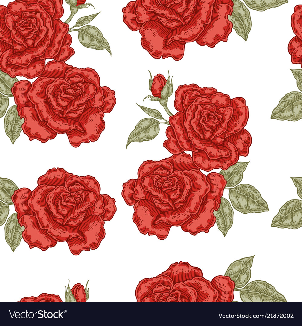 Seamless pattern with red rose flowers on white