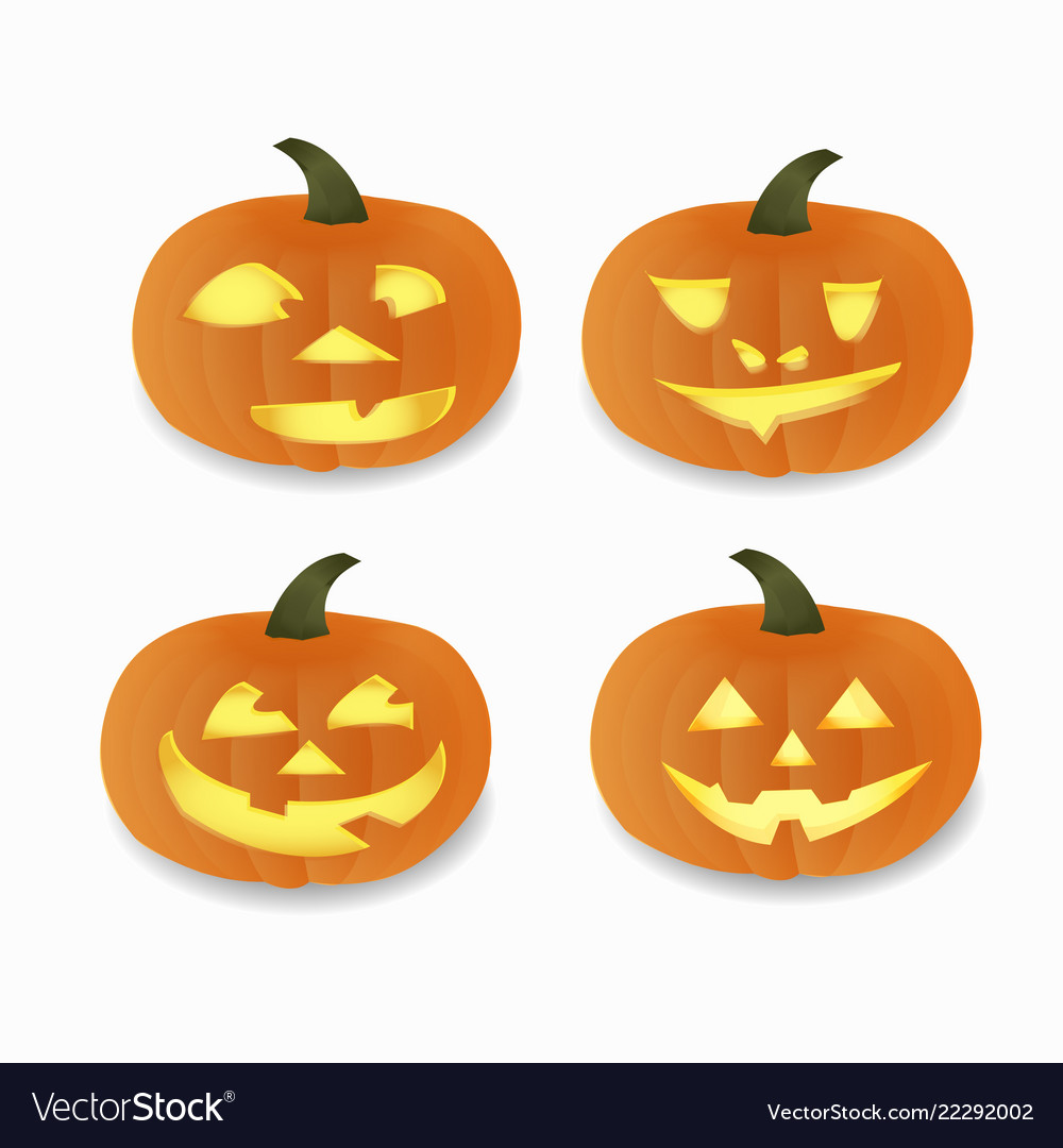 Set Of Halloween Pumpkins Funny Faceshappy Vector Image