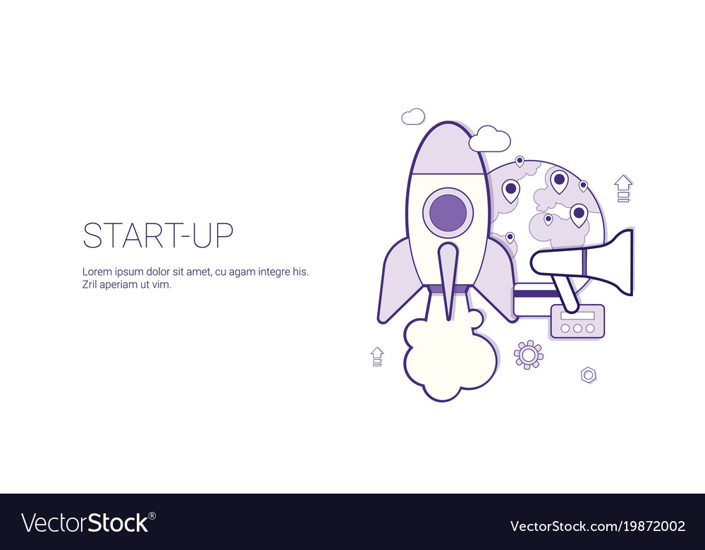 Startup business concept template web banner with