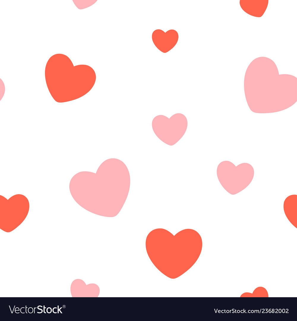 Valentines day red hearts seamless pattern