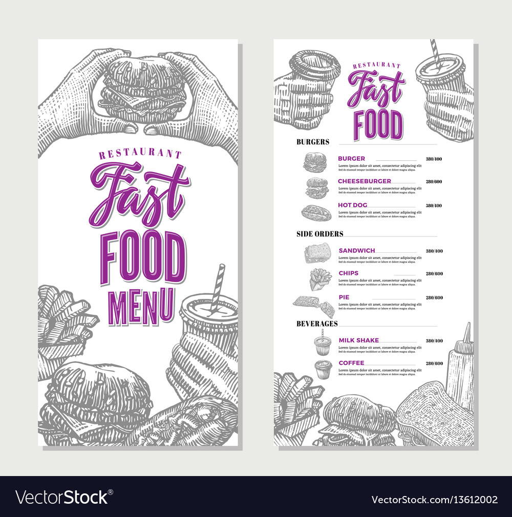 Vintage fast food restaurant menu template
