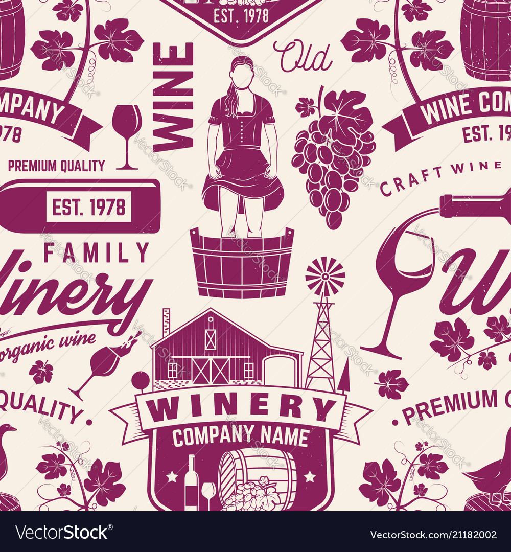 Winery seamless pattern or background vector image