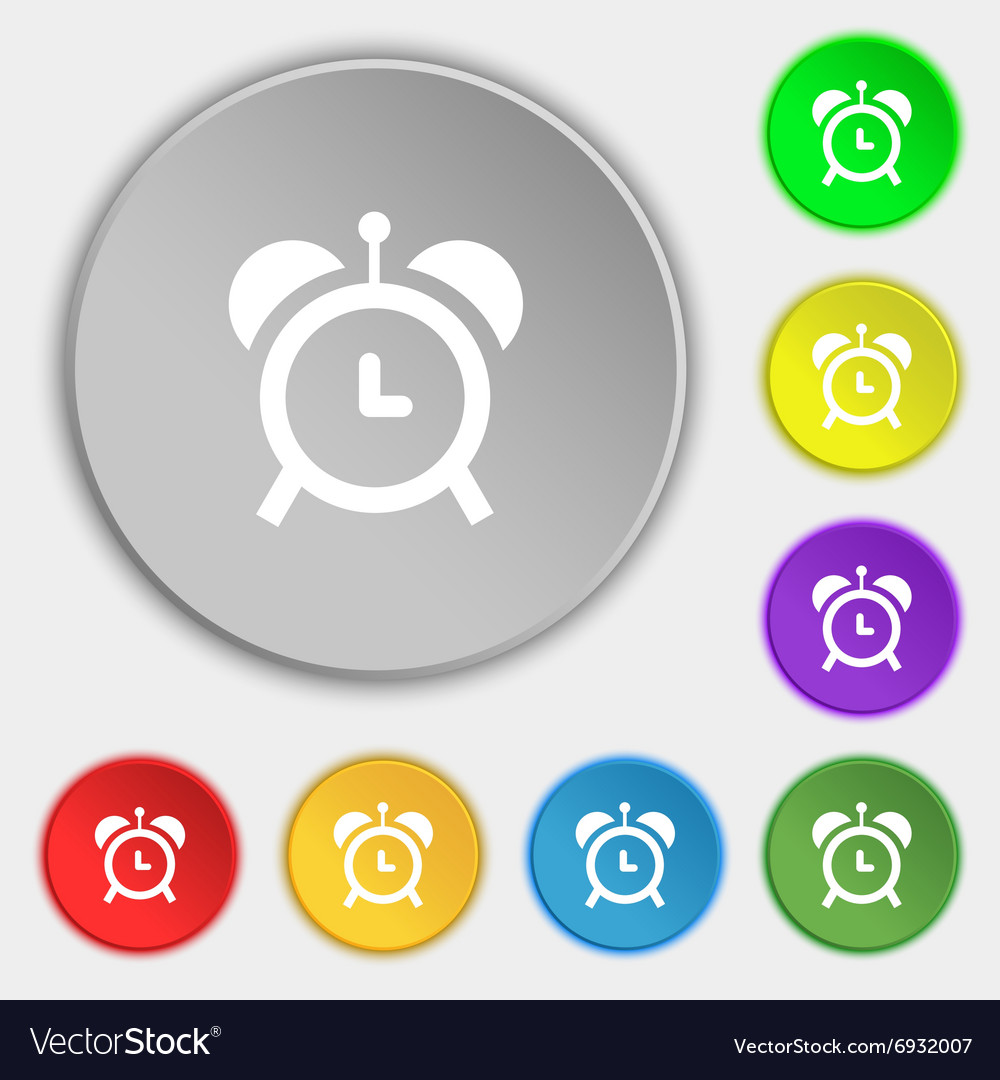 Alarm clock icon sign Symbol on eight flat buttons
