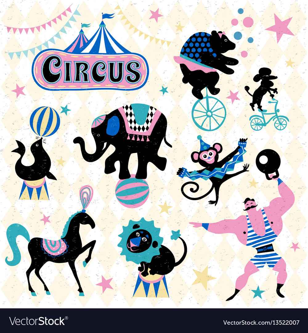 Circus animals attraction vector image