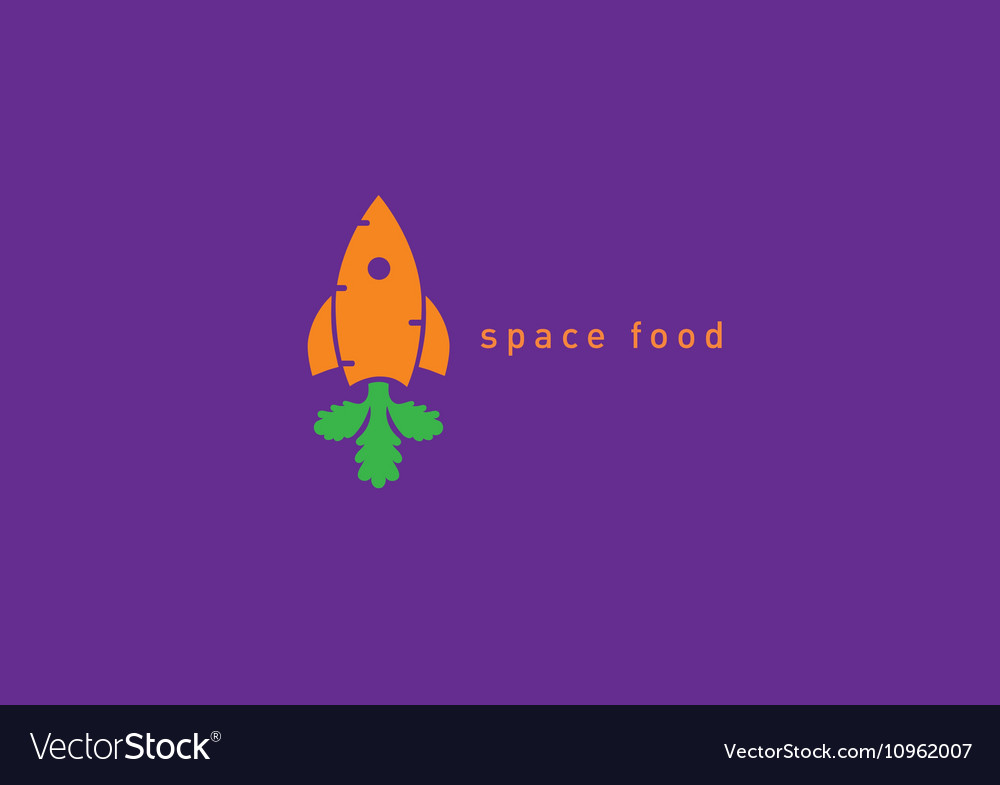 Creative logo on the space theme carrot and rocke