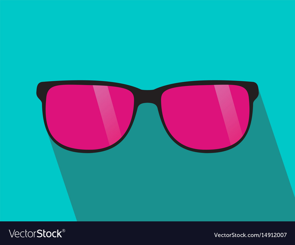 Glasses with pink lens long shadow flat design