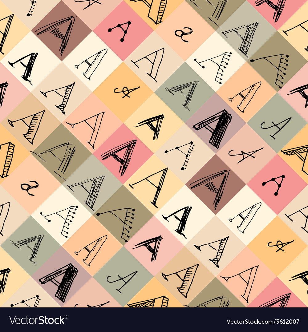 Pattern Of The Letter A In Different Styles Vector Image