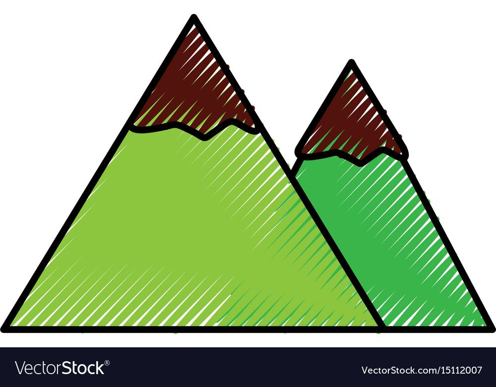 Scribble mountain cartoon vector image