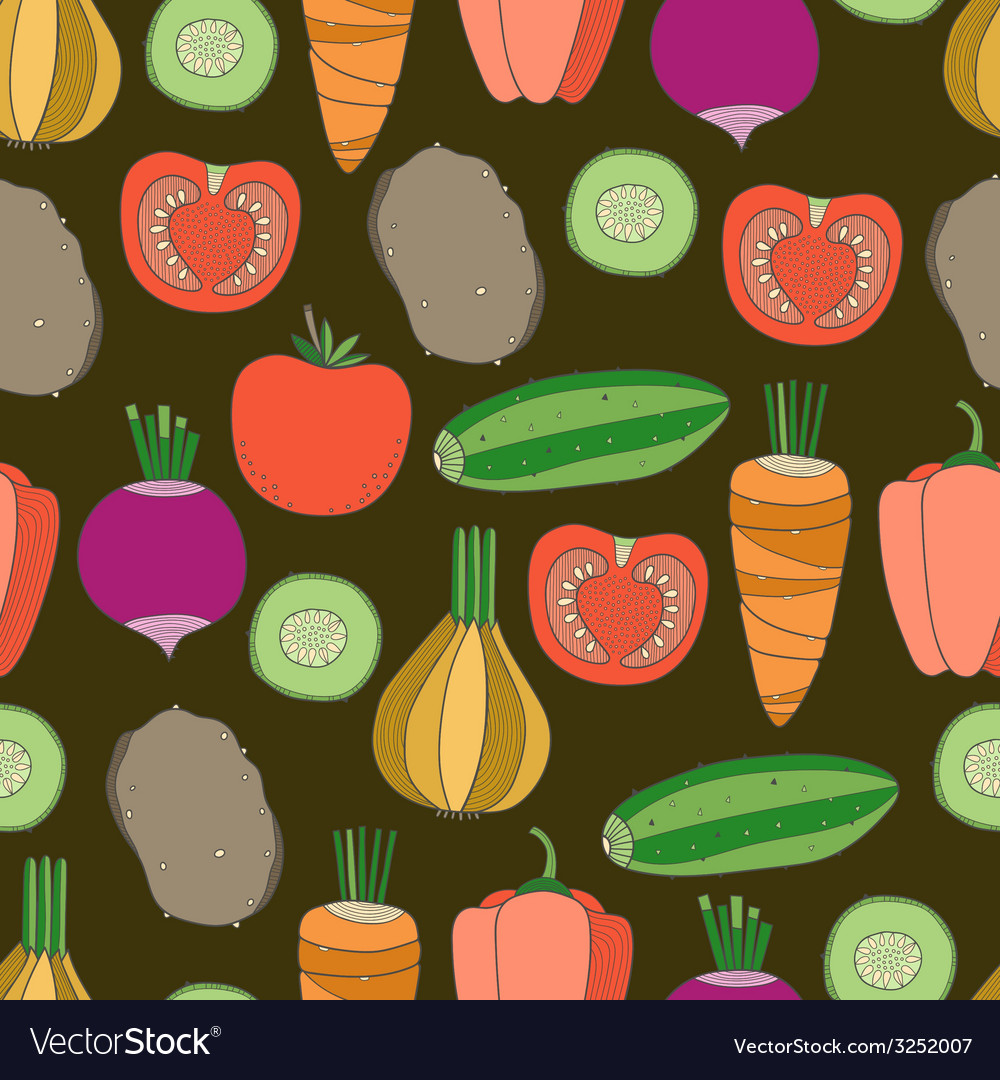 Seamless pattern of vegetables vector image