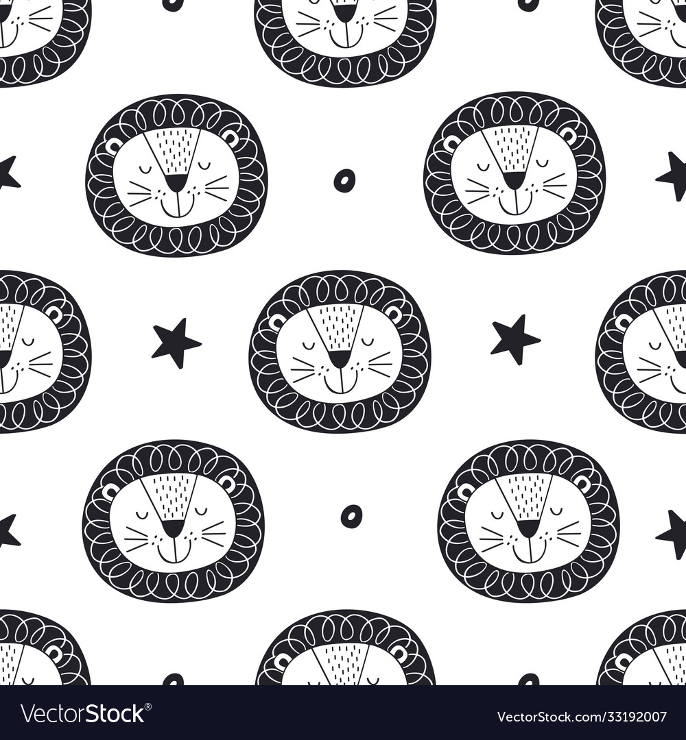 Seamless pattern with lion and stars