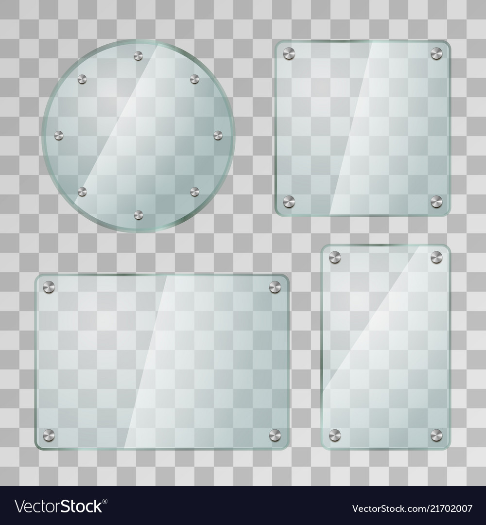 Set of realistic glossy glass plates in different