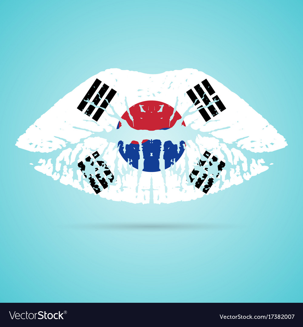 South Korea Flag Lipstick On The Lips Isolated Vector Image
