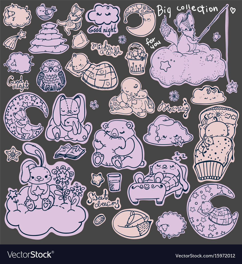 Cartoon good night collection vector image