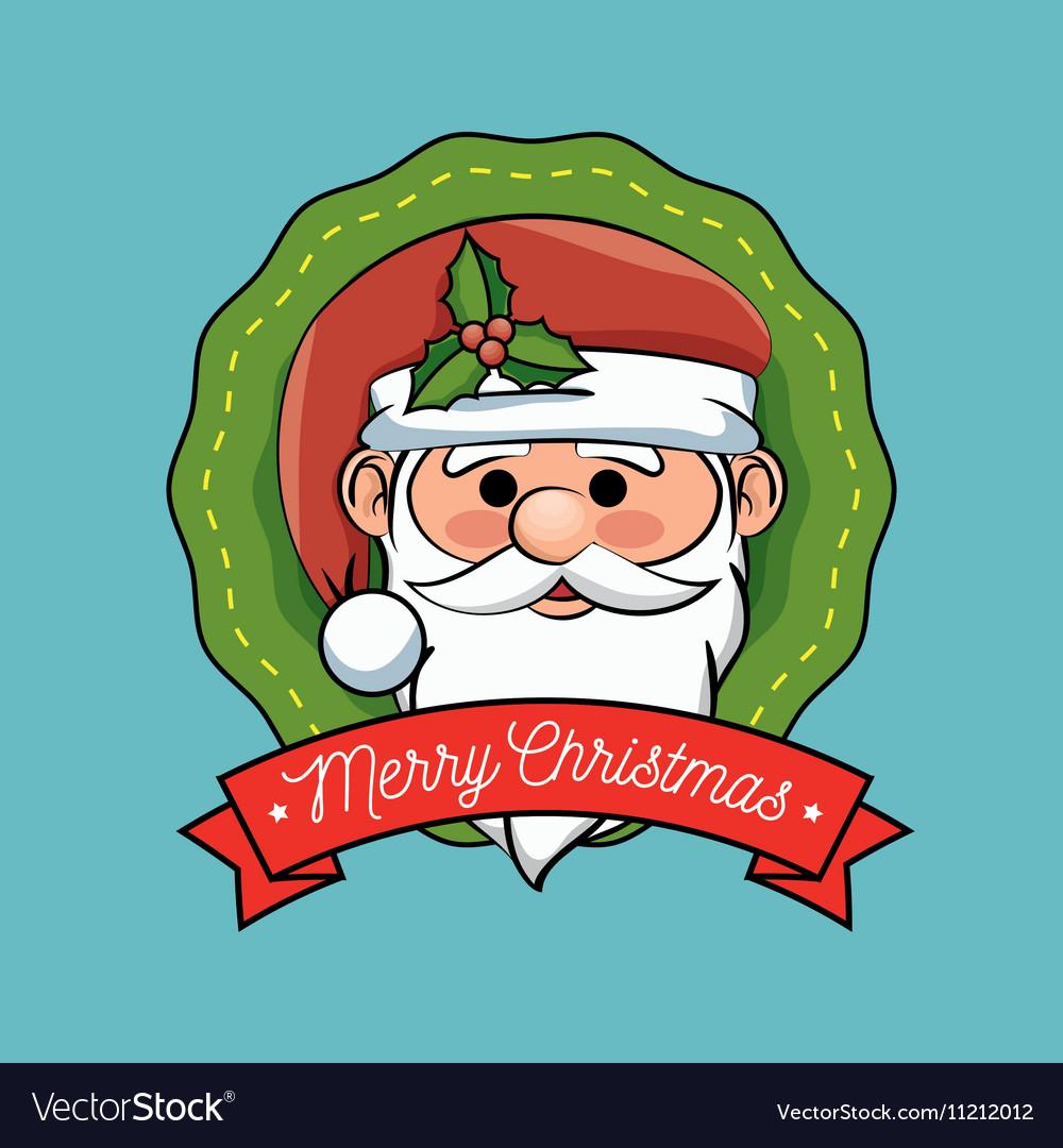 Christmas label santa claus design