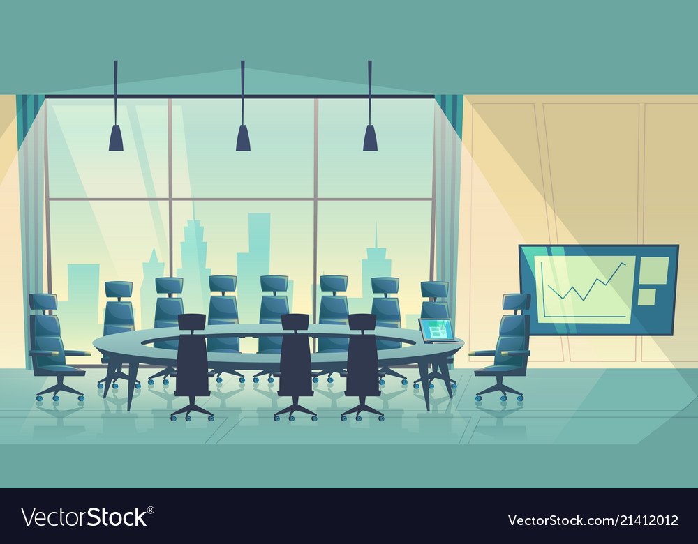 Conference hall for business cartoon