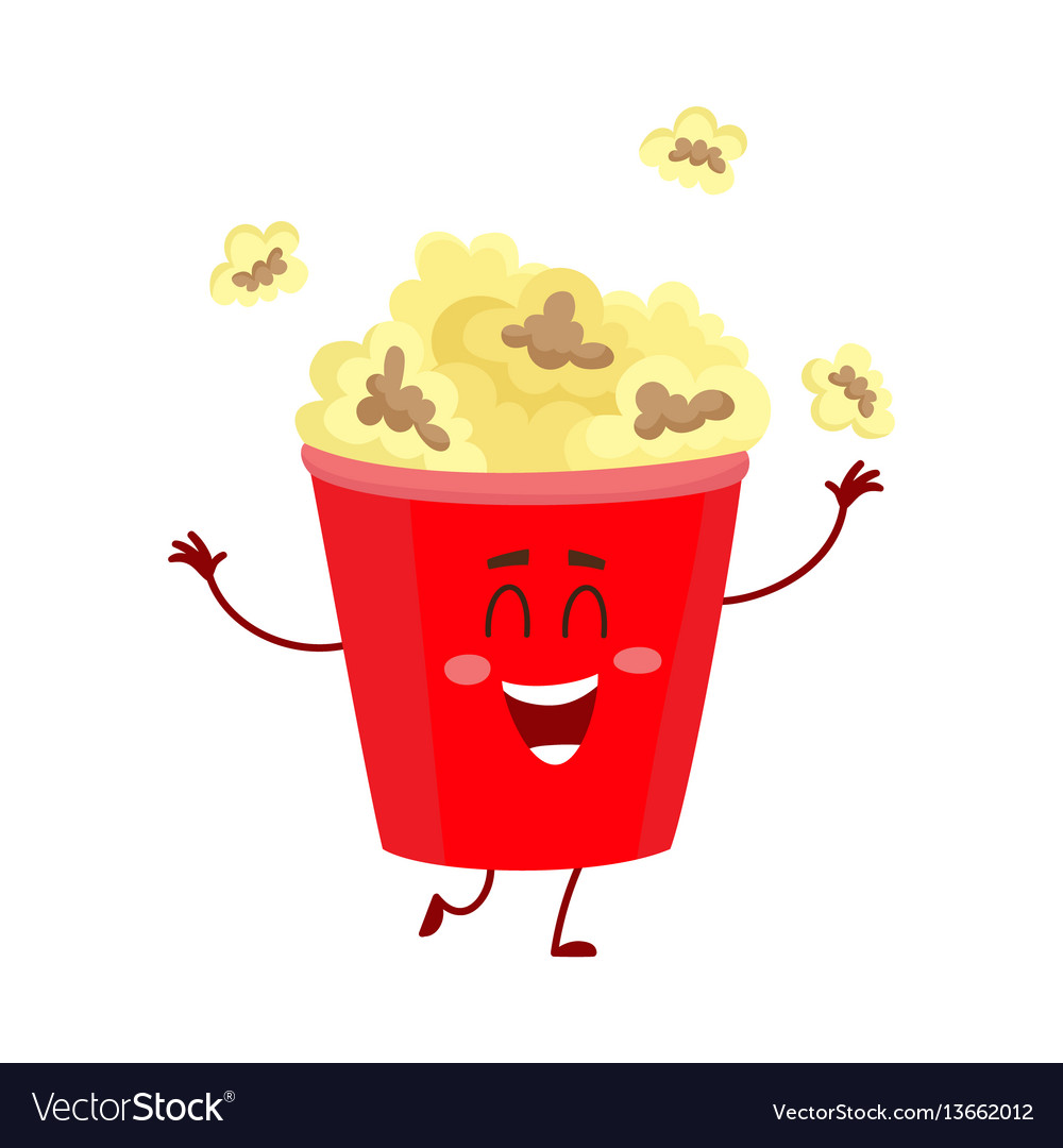 Funny cinema popcorn bucket character with smiling
