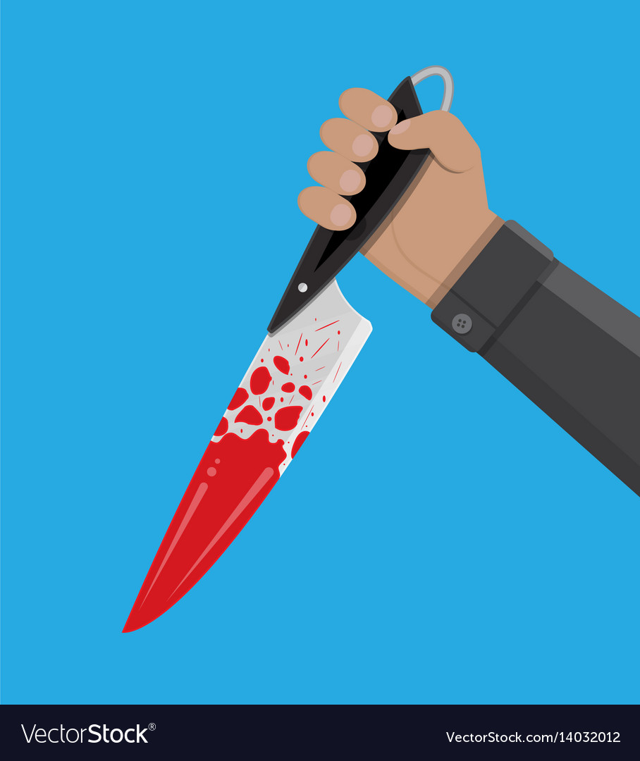 Hand holding a bloody knife