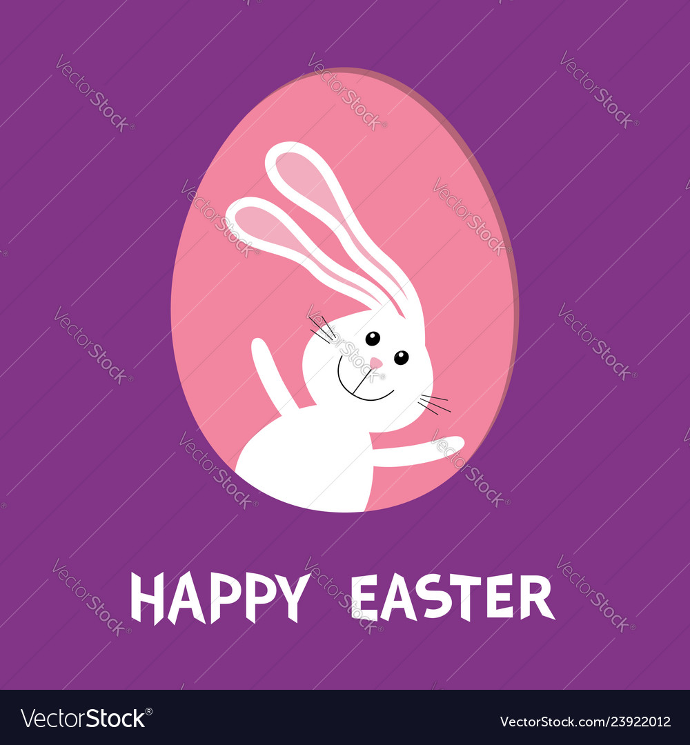 Happy easter bunny rabbit hare with big ears