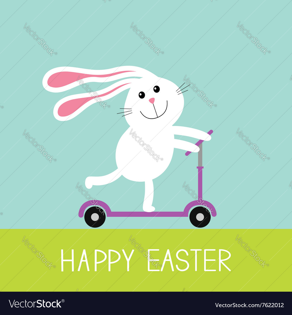 Happy Easter Cute cartoon rabbit hare riding a