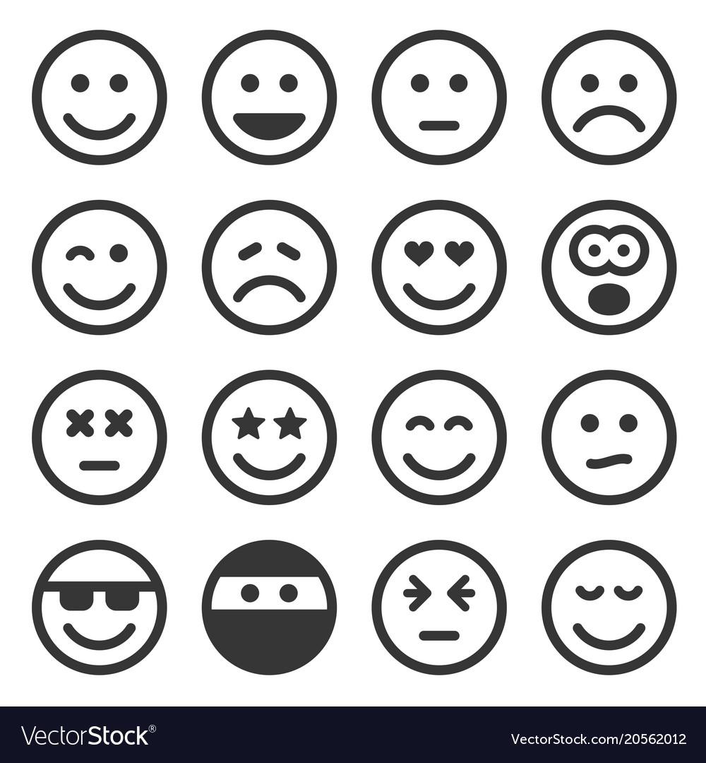 Monochrome smile icons set on white background