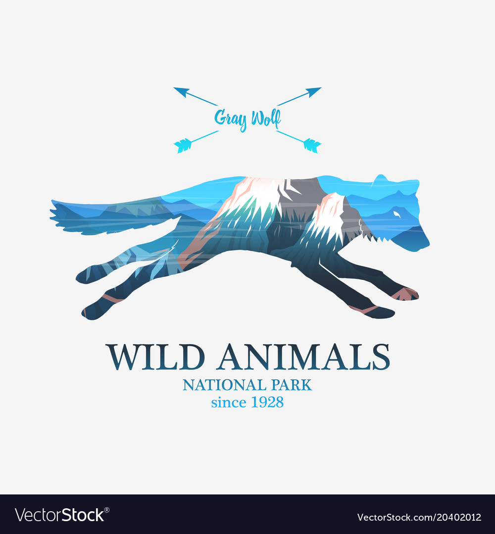 Mountains and running fox silhouette wild animal vector image