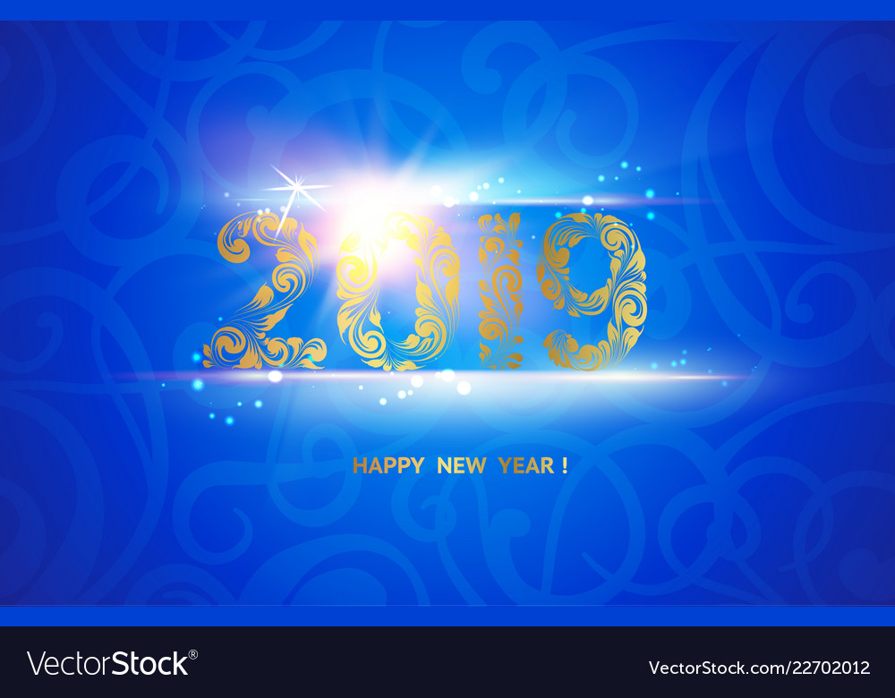 New year 2019 sign over blue background calendar