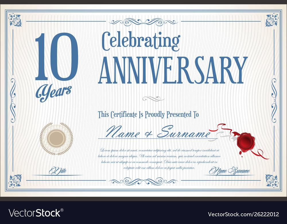 Retro vintage anniversary 10 years background 02