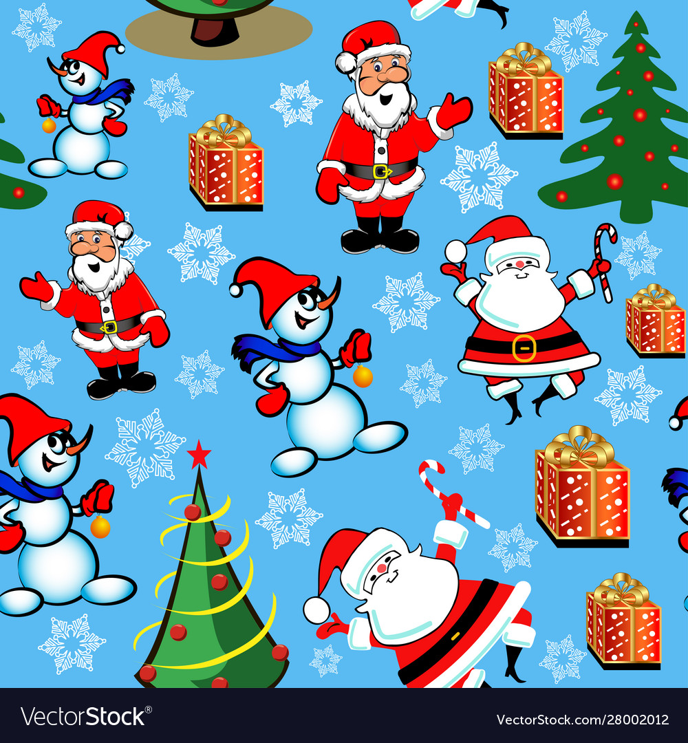 Seamless pattern with christmas trees gifts