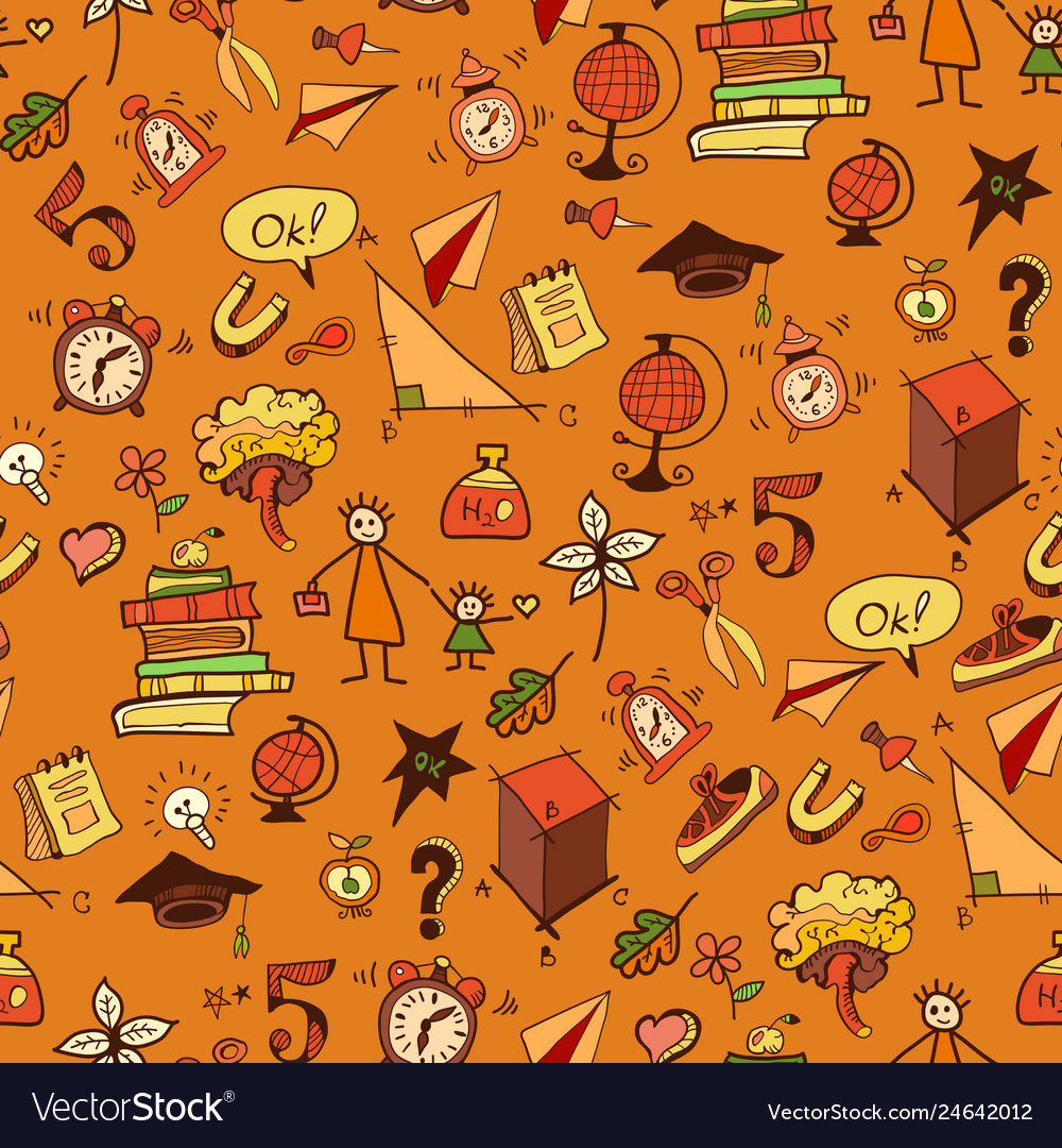 Seamless pattern with different school things