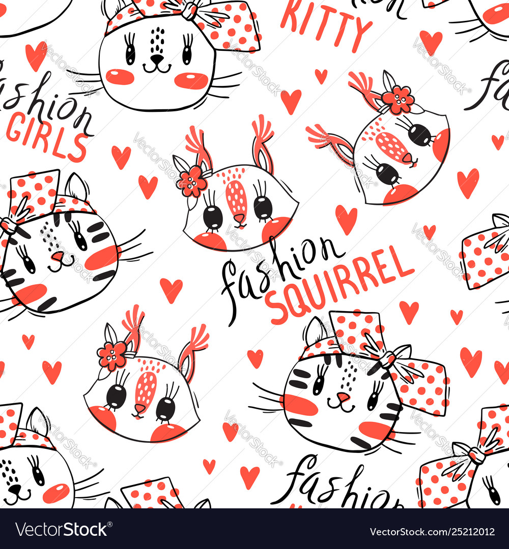 Seamless pattern with faces cats and squirrel