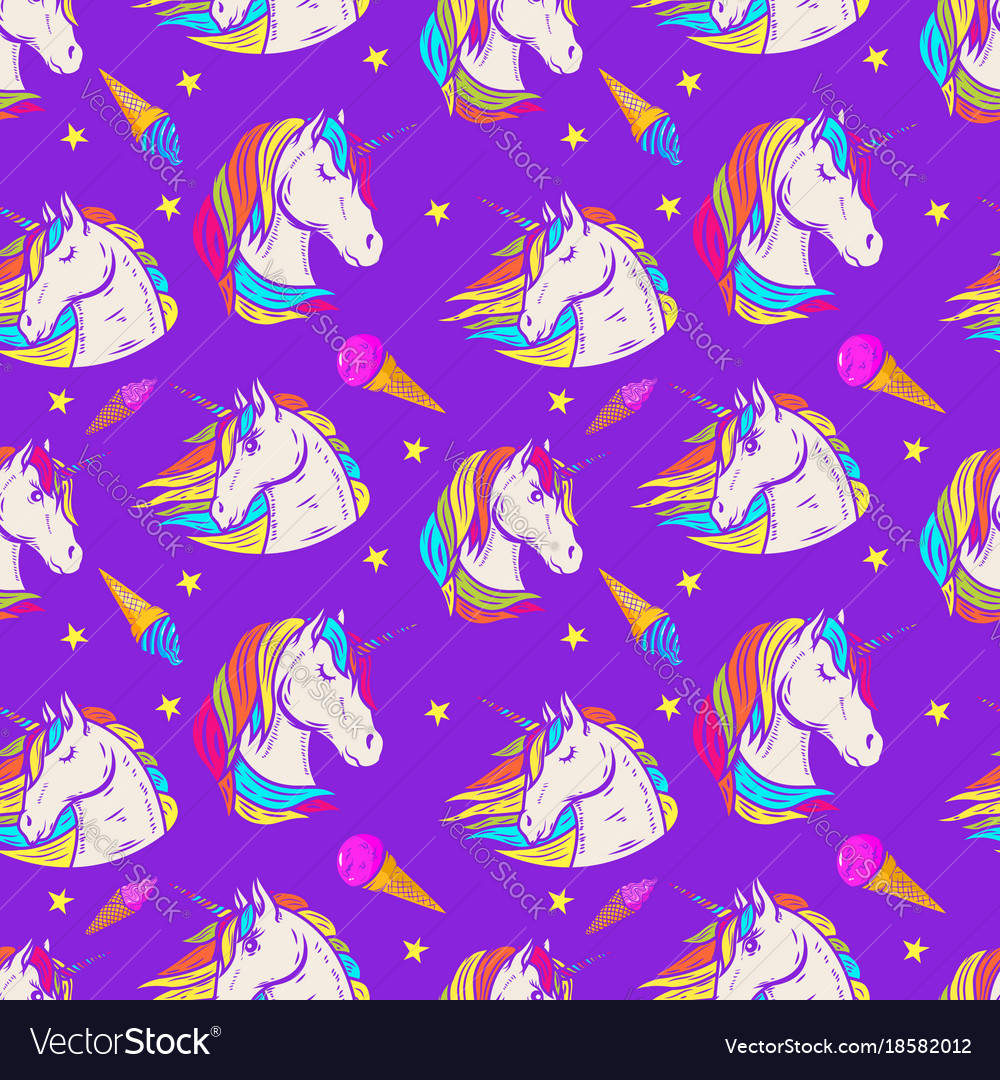 Seamless pattern with unicorn heads and ice cream vector image