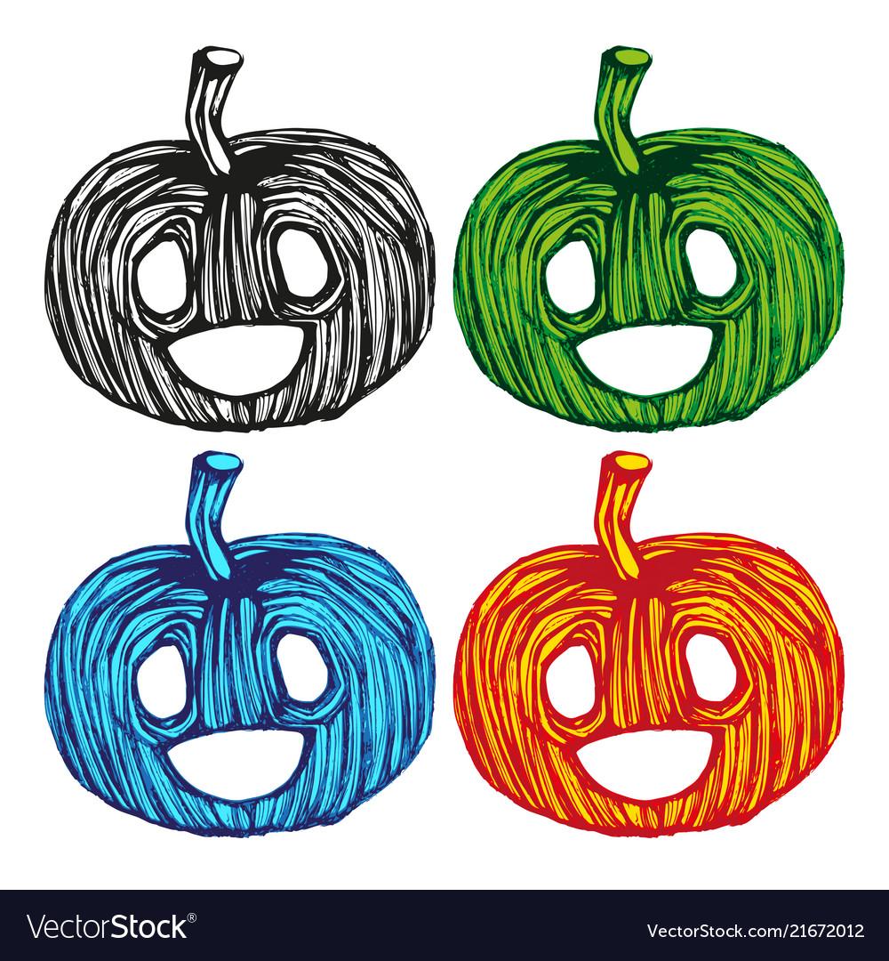 Single sketch pumpkin paint hand drawn