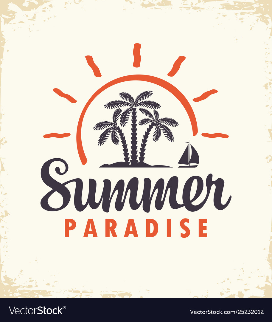 Summer tropical banner with palms and sailboat